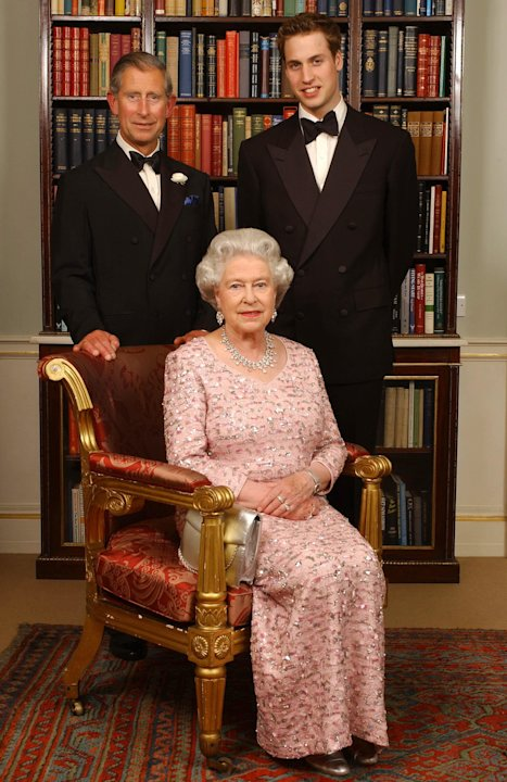 FILE - In this June 2, 2003 file photo, three generations of the British Royal family: Queen Elizabeth II; her eldest son, Charles the Prince of Wales, left; and his eldest son, Prince William, pose f