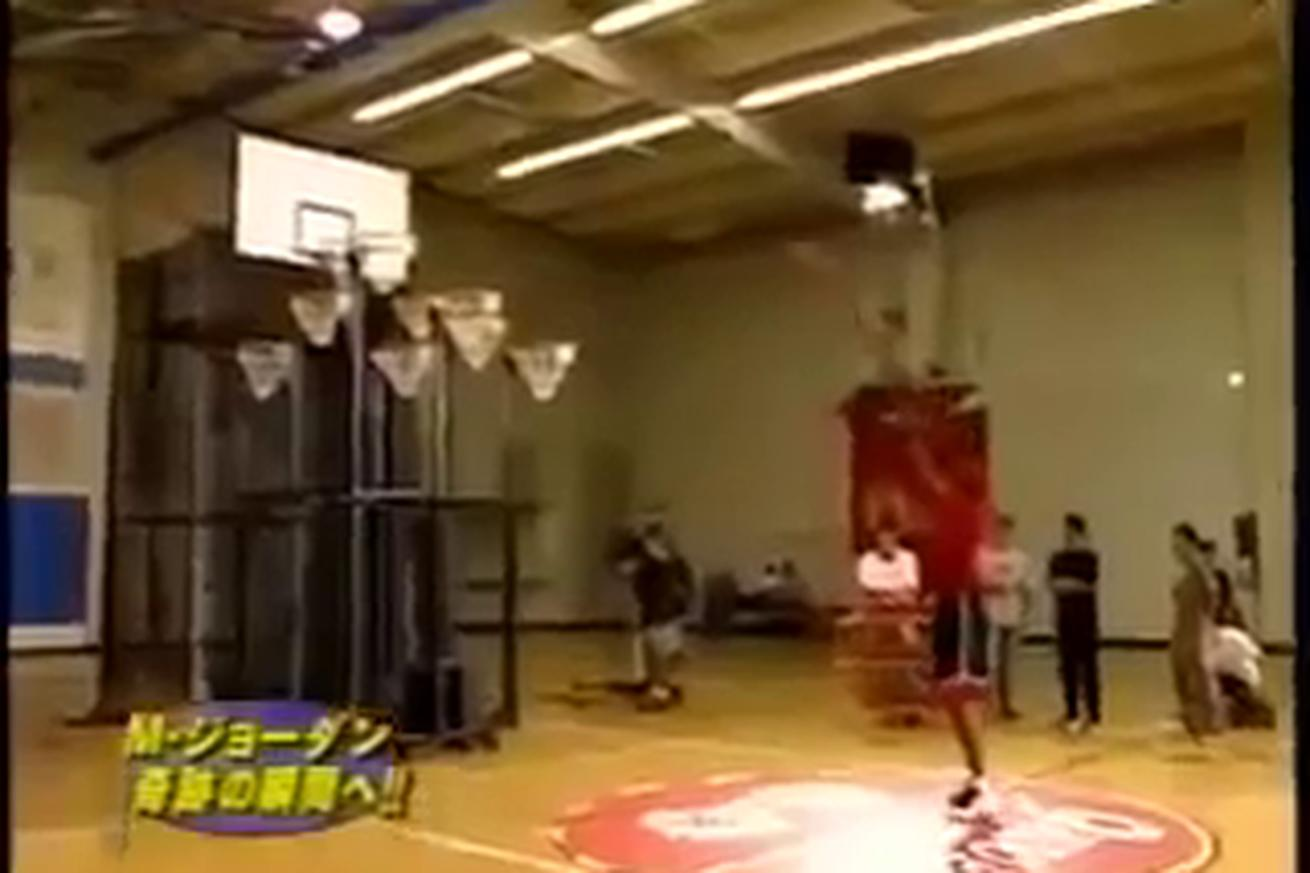 Michael Jordan once made difficult free throws on a backboard with 9 hoops for a Japanese game show
