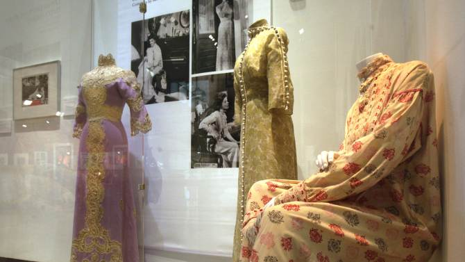 """Three designs by Motley, from the 1962 film """"Long Day's Journey Into Night,"""" are shown as part of the """"Katharine Hepburn: Dressed for Stage and Screen"""" exhibit in the New York Public Library for the Performing Arts at Lincoln Center,  Tuesday, Oct. 16, 2012. (AP Photo/Richard Drew)"""