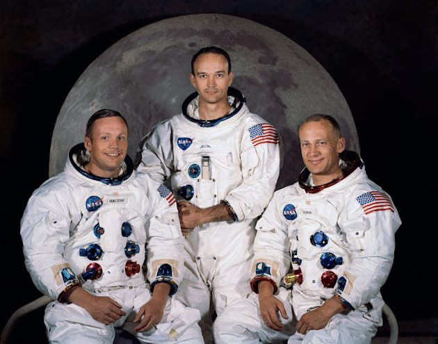 FILE - In this 1969 photo provided by NASA the crew of the Apollo 11 mission is seen. From left are Neil Armstrong, Mission Commander, Michael Collins,  Lt. Col. USAF, and Edwin Eugene Aldrin, also kn