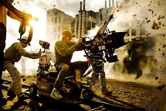Michael Bay on the set of 'Transformers 4 The Age of Extinction'