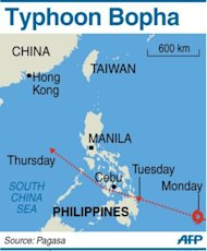 <p>Graphic showing the path of Typhoon Bopha, packing gusts of 210 kilometres an hour and expected to hit the southern Philippines overnight Tuesday.</p>