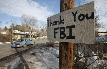 A sign thanking the FBI hangs in Burns, Oregon
