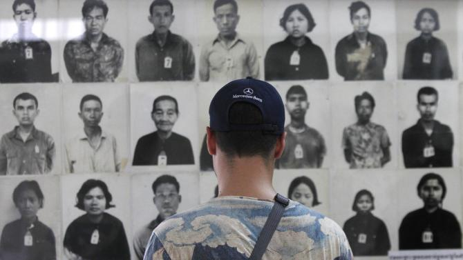 A tourist visits the Tuol Sleng Genocide Museum, also known as the notorious security prison S-21, in Phnom Penh