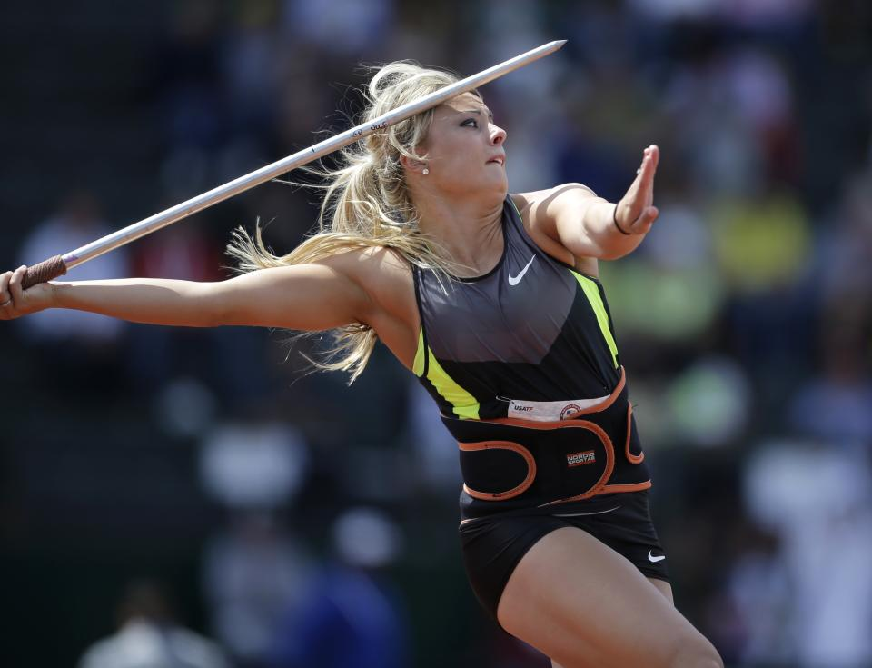 Brittany Borman competes in the women's javelin final at the U.S. Olympic Track and Field Trials Sunday, July 1, 2012, in Eugene, Ore. (AP Photo/Matt Slocum)