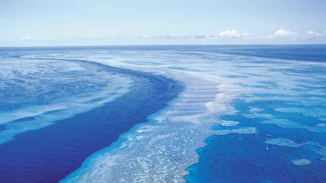an aerial view shows the Great Barrier Reef off Australia's Queensland state