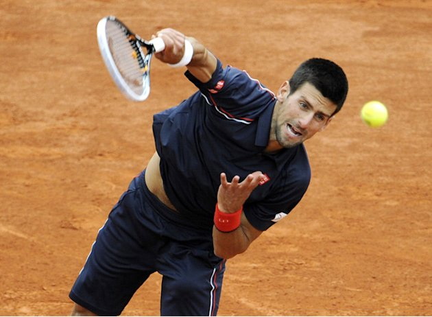 Serbia's Novak Djokovic Serves AFP/Getty Images