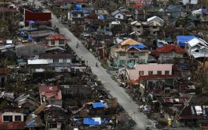 An aerial view of the destruction in a town is seen near Guiuan, Eastern Samar, in central Philippines