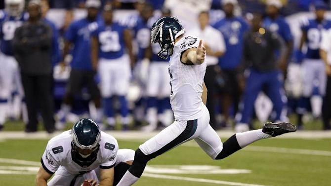 Philadelphia Eagles kicker Cody Parkey (1) kicks a 36-yard field goal out of the hold of Donnie Jones to win an NFL football game against the Indianapolis Colts Monday, Sept. 15, 2014, in Indianapolis. Philadelphia defeated Indianapolis 30-27