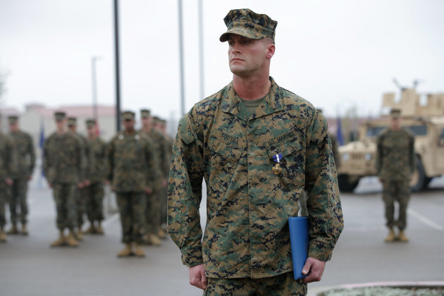 U.S. Marine Sgt. William Soutra Jr. wears the Navy Cross during a ceremony held at Camp Pendleton, Calif., Monday, Dec. 3, 2012. Soutra Jr. was awarded the medal for his heroism while serving in Afgha
