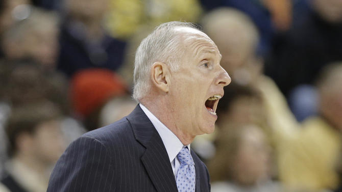 Miami head coach Jim Larranaga reacts to a call during the second half of an NCAA college basketball game against Wake Forest in Winston-Salem, N.C., Saturday, Feb. 23, 2013. Wake Forest won 80-65. (AP Photo/Chuck Burton)