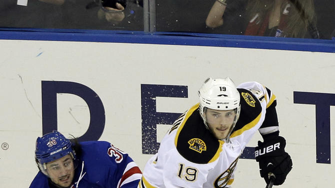 Boston Bruins' Tyler Seguin (19) skates away from New York Rangers' Mats Zuccarello (36) during the third period in Game 4 of the Eastern Conference semifinals in the NHL hockey Stanley Cup playoffs, Thursday, May 23, 2013, in New York. (AP Photo/Frank Franklin II)