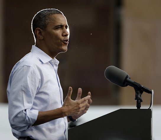 President Barack Obama speaks during a campaign event at University of Colorado Boulder, Sunday, Sept. 2, 2012, in Boulder, Colo. (AP Photo/Pablo Martinez Monsivais)