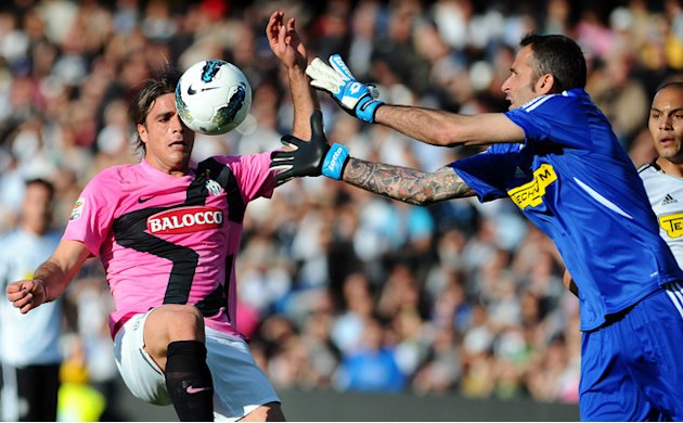 Juventus' Forward Alessandro Matri Fights AFP/Getty Images