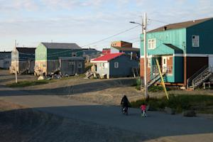 A street in the Inuit village of Umiujaq, in Nunavik …