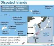 Graphic mapping the sea-border claims between Japan and China. Beijing on Friday took its dispute with Japan to the United Nations, accusing Tokyo of stealing islands in the East China Sea