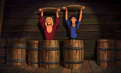 Miguel ( Kenneth Branagh , left) and Tulio ( Kevin Kline ) discover that they have inadvertently become stowaways on the ship of the Spanish explorer Cortes in Dreamworks' The Road To El Dorado
