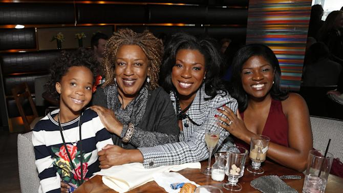 Quvenzhane Wallis, CCH Pounder, Lorraine Toussaint and guest attend the Film Independent Spirit Awards Luncheon at BOA Steakhouse on Saturday, Jan. 12, 2013, in West Hollywood, Calif. (Photo by Todd Williamson/Invision/AP)