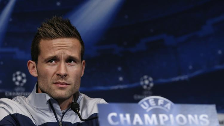 Paris St Germain's soccer player Yohan Cabaye addresses a news conference at the Parc des Princes stadium in Paris