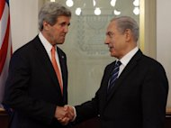 US Secretary of State John Kerry (left) shakes hands with Israeli Prime Minister Benjamin Netanyahu during a meeting in Jerusalem, on May 23, 2013. Kerry has admitted there is scepticism and cynicism about his efforts to broker new talks between Israelis and Palestinians, as he made his fourth visit to Israel