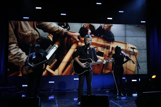 In this photo provided by NBC, Jon Bon Jovi performs during &quot;Hurricane Sandy: Coming Together&quot; Friday, Nov. 2, 2012, in New York. Hosted by Matt Lauer, the event is heavy on stars identified with New Jersey and the New York metropolitan area, which took the brunt of this week&#39;s deadly storm. (AP Photo/NBC, Heidi Gutman)