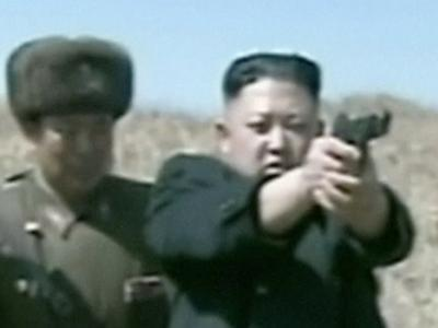 Raw: NKorean Leader Kim Jong Un Fires Gun