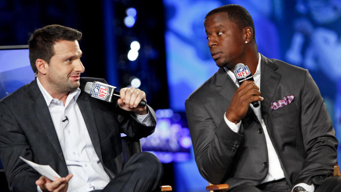 Dave Dameshek and former NFL quarterback Kordell Stewart are seen during the DirecTV NFL Fantasy Week on Thursday, Aug. 23, 2012 at the Best Buy theatre in Times Square in New York. (Photo by Brian Ach/AP Images for NFL)