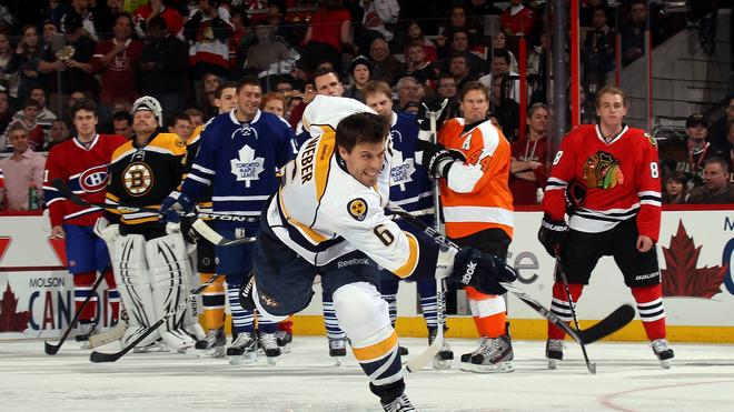 Shea Weber #6 Of The Nashville Predators And Team Alfredsson Takes Getty Images