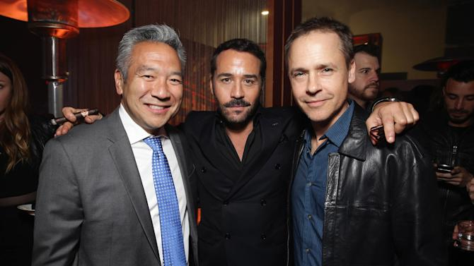 "Kevin Tsujihara, Chairman and CEO of Warner Bros., Jeremy Piven and Chad Lowe seen at Warner Bros. Premiere of ""Entourage"" held at Regency Village Theatre on Monday, June 1, 2015, in Westwood, Calif. (Photo by Eric Charbonneau/Invision for Warner Bros./AP Images)"