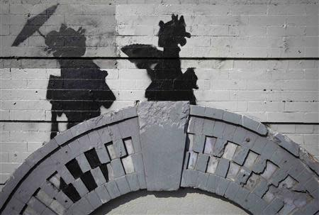A new art piece by British graffiti artist Banksy is pictured in the Brooklyn borough of New York