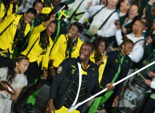 &lt;p&gt;Jamaica&#39;s flagbearer Usain Bolt leads his delegation during the London Olympics opening ceremony on July 27. Defending champion Bolt and Jamaican teammates Yohan Blake and Asafa Powell will make their entrance Saturday alongside US rivals Tyson Gay and Justin Gatlin.&lt;/p&gt;