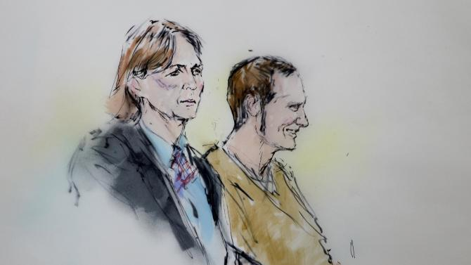 Attorney Judy Clark and defendant Jared Loughner stand before the judge in federal court Wednesday, March 9, 2011 in Tucson, Ariz. as shown in this artists' rendering. Suspected shooter Jared Loughner, who is charged with shooting U.S. Rep. Garbrielle Giffords, D-Ariz., and 18 others, was in court for a status hearing to consider whether to order the suspect in the Tucscon, Ariz., shooting rampage to give handwriting samples to compare with documents seized in a search of his home.  (AP Photo/Bill Robles)