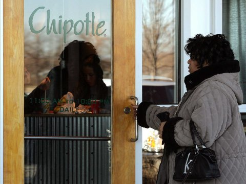 Woman entering Chipotle