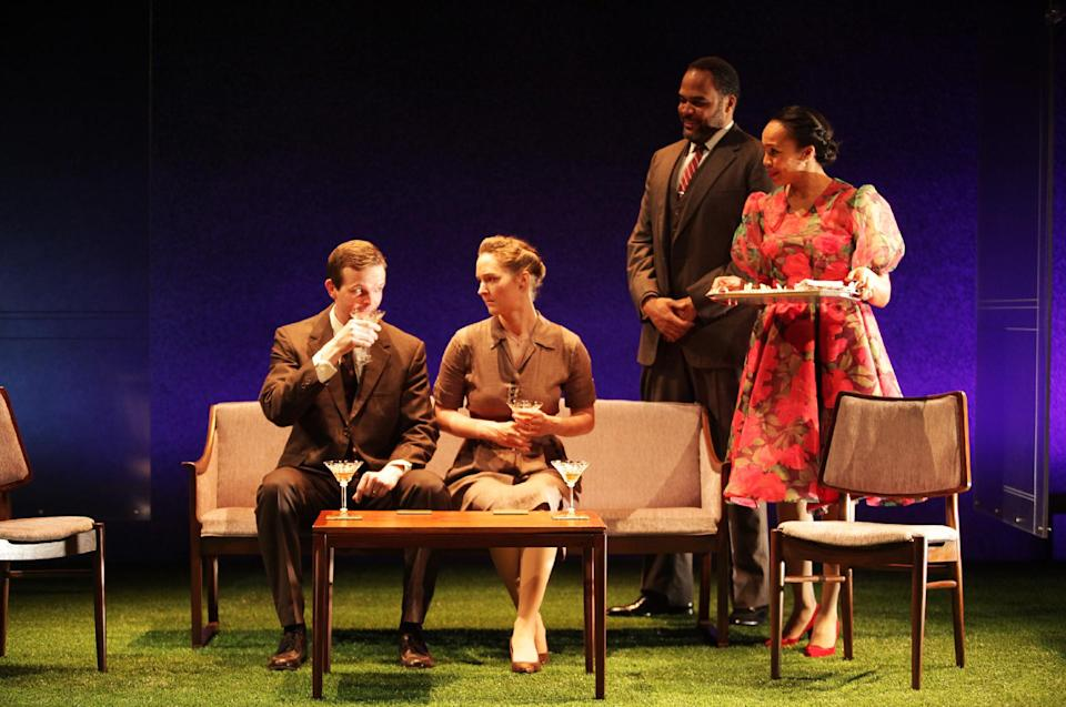 "Shown in a publicity photo released by Lincoln Center Theater are, from left, Dashiell Eaves, Amanda Quaid, Victor Williams and Eisa Davis in a scene from the LCT3 production of ""Luck of the Irish,"" currently performing off-Broadway at the Claire Tow Theater in New York. (AP Photo/Lincoln Center Theater, Erin Baiano.)"