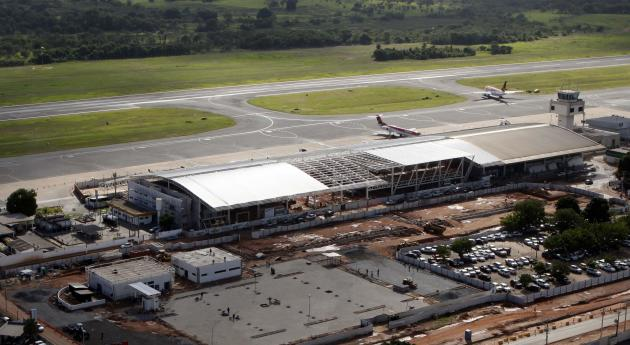 Aerial view of Cuiaba airport in extensive renovations