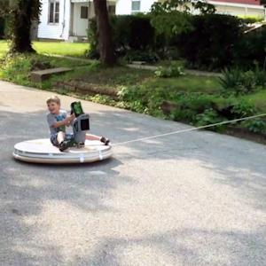 Awesome dad builds his kids a homemade hovercraft