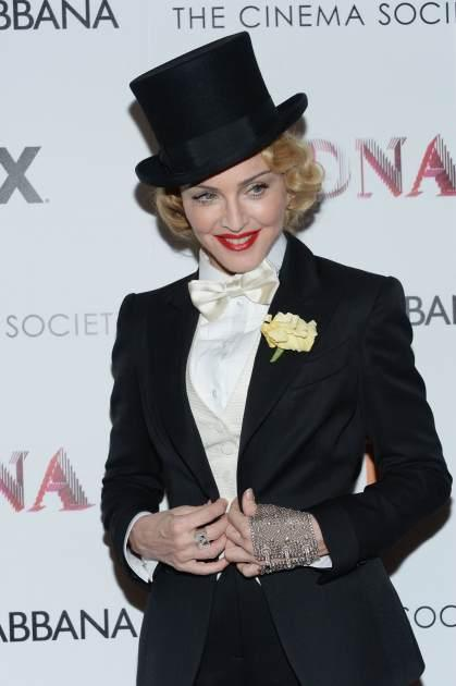 Madonna attends the Dolce & Gabbana and The Cinema Society screening of the Epix World premiere of 'Madonna: The MDNA Tour' at The Paris Theatre on June 18, 2013 in New York City -- Getty Images