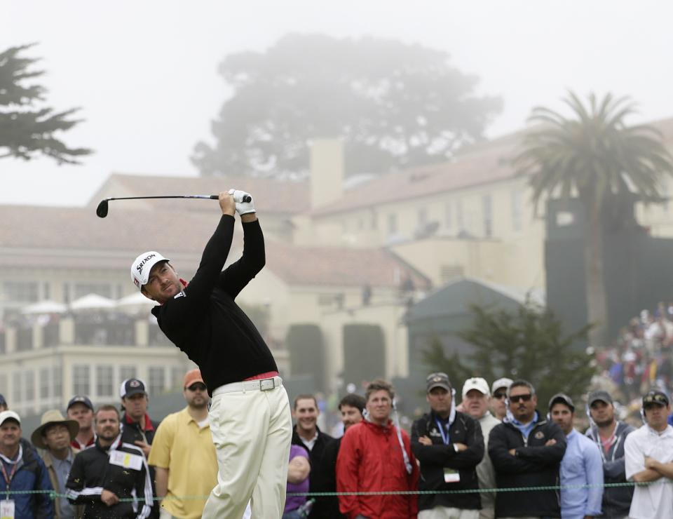 Graeme McDowell, of Northern Ireland, hits a drive on the fourth hole during the fourth round of the U.S. Open Championship golf tournament Sunday, June 17, 2012, at The Olympic Club in San Francisco. (AP Photo/Eric Gay)