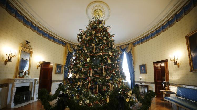 The White House Christmas Tree is pictured in the Blue Room of the White House in Washington