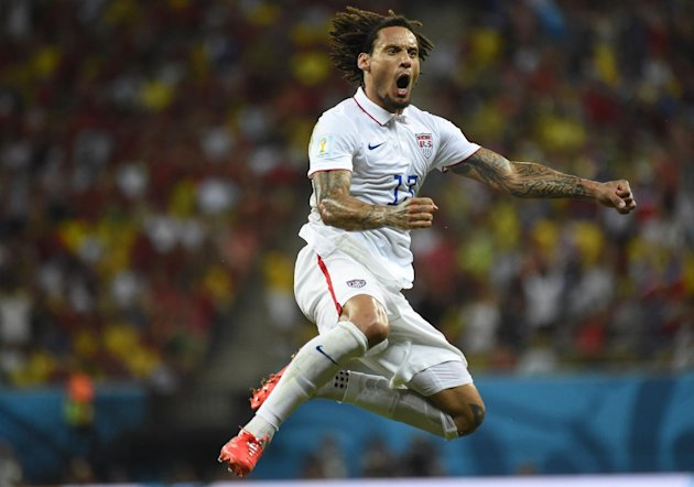 US midfielder Jermaine Jones celebrates after scoring during a Group G football match between USA and Portugal at the Amazonia Arena in Manaus during ...