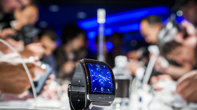 "A Samsung Gear S, a new mobile watch device, is seen during an event in Berlin on September 3, 2014, in advance of the consumer electronics trade fair ""Internationale Funk Ausstellung ""(IFA)"