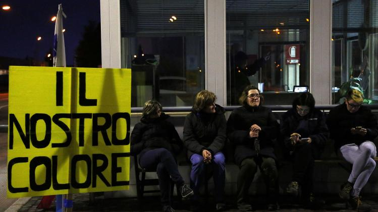 Electrolux factory workers join the union-led protest outside the factory in Porcia, northern Italy