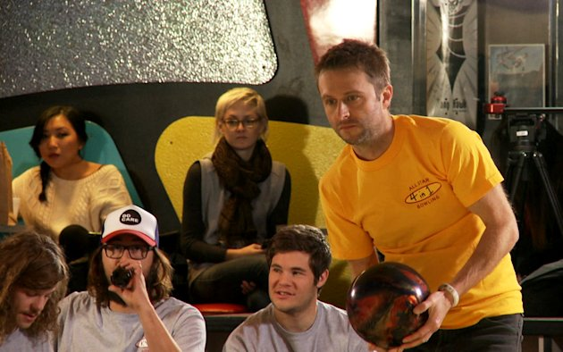 "This undated image released by the Nerdist Channel shows Chris Hardwick competing in ""All Star Celebrity Bowling."" Nerdist began as a little weekly comedy podcast hosted by Hardwick and launched in 2010. It has grown to encompass a network of 21 podcasts, 27 YouTube shows and a growing TV presence. (AP Photo/Nerdist Channel)"