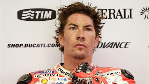 Nicky Hayden in the Ducati garage (Reuters)