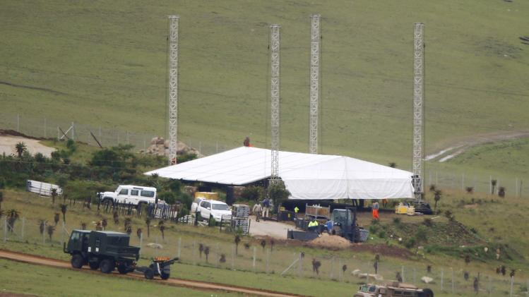 A ceremonial gun is pictured in position near the graveyard within the property of former South African President Mandela in Qunu