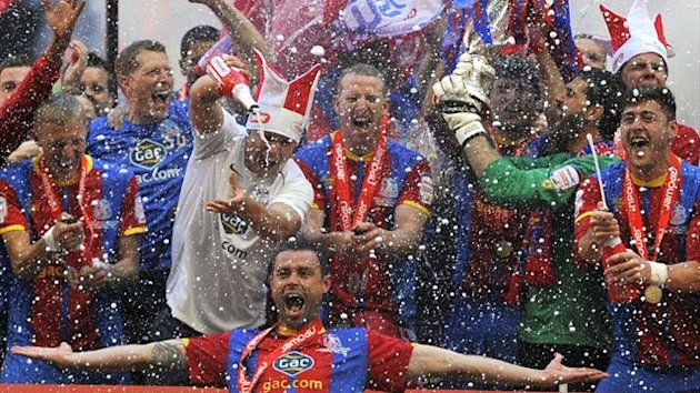 Crystal Palace celebrate winning the play-off final (Reuters)
