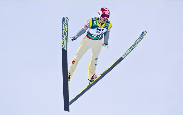 Robert Kranjec of Slovenia competes during the men's Ski Jumping World Cup in the Holmenkollen Ski Arena in Oslo