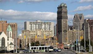 Downtown Detroit is seen looking south on Grand River Avenue in Detroit