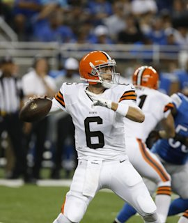 Brian Hoyer looks to pass against the Lions. (AP)