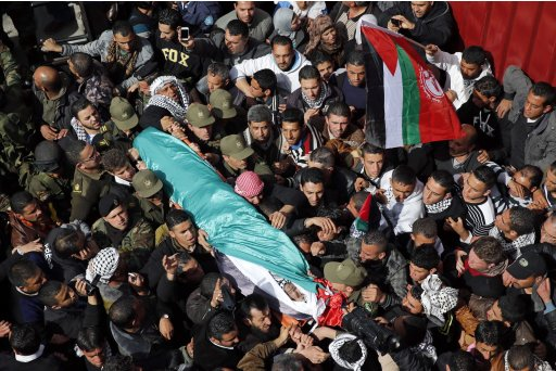 Palestinians carry the body of Arafat Jaradat as it arrives at his home before his funeral in the West Bank village of Se'eer near Hebron